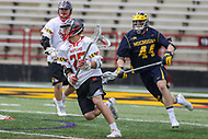 College Park, MD - April 1, 2017: Maryland Terrapins Dylan Maltz (25) makes a pass during game between Michigan and Maryland at  Capital One Field at Maryland Stadium in College Park, MD.  (Photo by Elliott Brown/Media Images International)