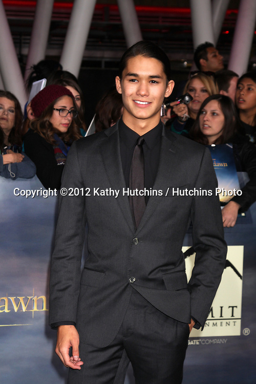 "LOS ANGELES - NOV 12:  Booboo Stewart arrive to the 'The Twilight Saga: Breaking Dawn - Part 2"" Premiere at Nokia Theater on November 12, 2012 in Los Angeles, CA"