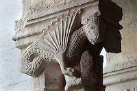 Capital with a dragon, atop pairs of 8-sided columns in the colonnade of the Cloister, built in late Romanesque style by Mihoje Brajkov of Bar in 1360, at the Franciscan monastery on Stradun or Placa, Old Town, Dubrovnik, Croatia. The city developed as an important port in the 15th and 16th centuries and has had a multicultural history, allied to the Romans, Ostrogoths, Byzantines, Ancona, Hungary and the Ottomans. In 1979 the city was listed as a UNESCO World Heritage Site. Picture by Manuel Cohen