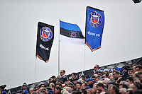 A general view of Bath Rugby flags in the East Stand. Aviva Premiership match, between Bath Rugby and Worcester Warriors on December 27, 2015 at the Recreation Ground in Bath, England. Photo by: Patrick Khachfe / Onside Images