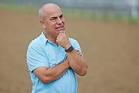 LOUISVILLE, KENTUCKY - APRIL 30: Trainer Mark E.Casse watches morning workouts at Churchill Downs on April 30, 2017 in Louisville, Kentucky. (Photo by Jon Durr/Eclipse Sportswire/Getty Images)