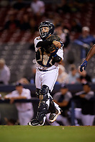 Connecticut Tigers catcher Gresuan Silverio (13) throws to third base after a strikeout during a game against the Hudson Valley Renegades on August 20, 2018 at Dodd Stadium in Norwich, Connecticut.  Hudson Valley defeated Connecticut 3-1.  (Mike Janes/Four Seam Images)