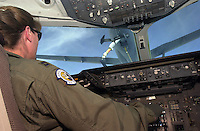 "Captain ""Rebecca"" from the Sixth Air Refueling Squadron at Travis Air Force base moves into position for air to air refueling from another KC-10 over California Friday Oct. 5 2001. The KC-10 tankers can transfer up to 340,000 pounds of fuel on a mission. (CONTRA COSTA TIMES/ ALAN GRETH)"