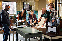 In this episode of Breakout Kings, the Breakout Kings gather in the bullpen to review their latest case. Photo: Skip Bolen/A&E Television Networks