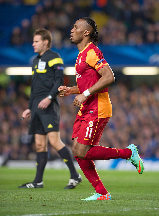 Galatasaray's Didier Drogba in action during the match against Chelsea <br /> <br /> Photo by Ashley Western/CameraSport<br /> <br /> Football - UEFA Champions League First Knockout Round 2nd Leg - Chelsea v Galatasaray - Tuesday 18th March 2014 - Stamford Bridge - London<br />  <br /> &copy; CameraSport - 43 Linden Ave. Countesthorpe. Leicester. England. LE8 5PG - Tel: +44 (0) 116 277 4147 - admin@camerasport.com - www.camerasport.com