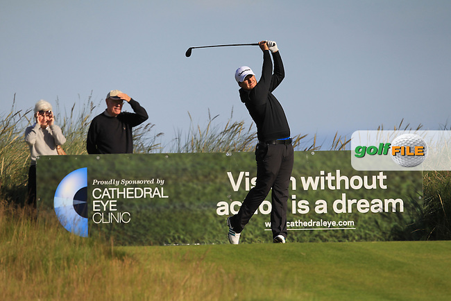 Colm Campbell Jnr. (Warrenpoint) on the 1st tee during Round 3 of Matchplay in the North of Ireland Amateur Open Championship at Portrush Golf Club, Portrush on Thursday 14th July 2016.<br /> Picture:  Thos Caffrey / www.golffile.ie