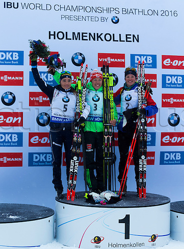06.03.2016. Oslo Holmenkollen, Oslo, Norway. IBU Biathlon World Championships. Dorothea Wierer of Italy second place Laura Dahlmeier of Germany first place and Marie Dorin Habert of France third place in the ladies 10km pursuit competition during the IBU World Championships Biathlon in Holmenkollen Oslo, Norway.