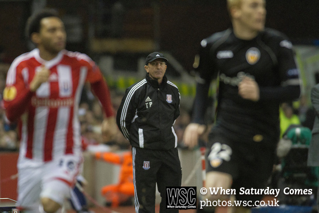 Stoke City 0 Valencia 1, 16/02/2012. Britannia Stadium, UEFA Europa League. Home manager Tony Pulis watching the action in the first half from the side of the pitch at the Britannia Stadium, Stoke-on-Trent, during the UEFA Europa League last 32 first leg between Stoke City and visitors Valencia. The match ended in a 1-0 victory from the visitors from Spain. Mehmet Topal scored the only goal in the first half in a match watched by a crowd of 24,185. Photo by Colin McPherson.