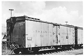 3/4 view of D&amp;RGW short refrigerator car #56 in Durango yard.  This is the original print but is darker than RD057-002.<br /> D&amp;RGW  Durango, CO  Taken by Maxwell, John W. - 7/5/1940