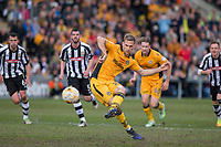 Mickey Demetriou of Newport County scores his side's first goal from the penalty spot during the Sky Bet League 2 match between Newport County and Notts County at Rodney Parade, Newport, Wales on 6 May 2017. Photo by Mark  Hawkins / PRiME Media Images.