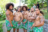 Asian American Pacific Rim heritage native shirtless dancers. Dragon Festival Lake Phalen Park St Paul Minnesota USA