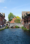 The River Itchen looking toward the City Mill, Winchester, Hampshire, England