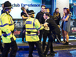 "© Joel Goodman - 07973 332324 . 17/12/2016 . Manchester , UK . Police intervene to prevent a fight from escalating , outside The Birdcage on Withy Grove . Revellers out in Manchester City Centre overnight during "" Mad Friday "" , named for being one of the busiest nights of the year for the emergency services in the UK . Photo credit : Joel Goodman"