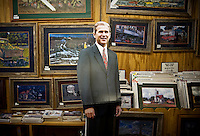 A George W. Bush cutout leans against a wall in The Red Bull gift shop and Bush memorabilia store in Crawford, Texas, US, Wednesday, April 14, 2010. The Red Bull store is the last remaining gift shop in Crawford...PHOTO/ MATT NAGER