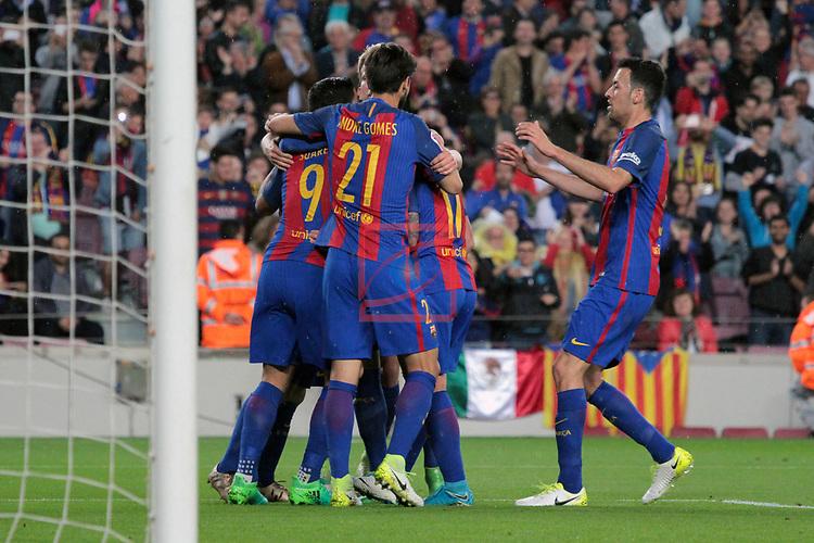 League Santander 2016/2017. Game: 32.<br /> FC Barcelona vs Real Sociedad: 3-2.<br /> Luis Suarez, Andre Gomes, Paco Alcacer &amp; Sergio Busquets.