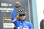 Race leader Maglia Azzurra Michal Kwiatkowski (POL) Team Sky at sign on before the start of Stage 6 of the 53rd edition of the Tirreno-Adriatico 2018 running 153km from Numana to Fano, Italy. 12th March 2018.<br /> Picture: LaPresse/Fabio Ferrari   Cyclefile<br /> <br /> <br /> All photos usage must carry mandatory copyright credit (&copy; Cyclefile   LaPresse/Fabio Ferrari)