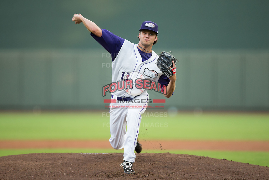 Winston-Salem Dash starting pitcher Spencer Adams (13) in action against the Myrtle Beach Pelicans at BB&T Ballpark on August 20, 2015 in Winston-Salem, North Carolina.  The Dash defeated the Pelicans 5-4 on a walk-off wild pitch in the bottom of the 9th inning.  (Brian Westerholt/Four Seam Images)