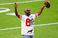 2nd February 2020, Miami Gardens, Florida, USA;   NFL Hall of fame receiver Jerry Rice on the field prior to Super Bowl LIV on February 2, 2020 at Hard Rock Stadium in Miami Gardens