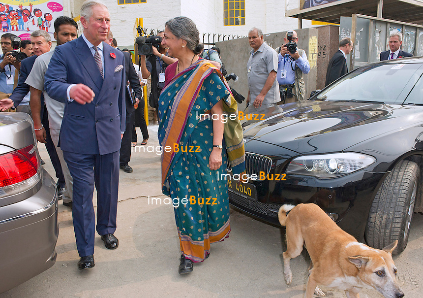 PRINCE CHARLES<br /> visits the Katha Lab School in the slum district of Govindpuri, New Delhi, India_08/11/2013.<br /> The couple are on a 9-day tour of India