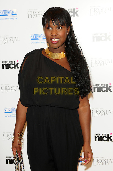 "Michelle Gayle.The ""A Night With Nick"" charity event in aid of The Stroke Association, Swarovski CRYSTALLIZED, Gt. Marlborough St., London, England..December 6th, 2011.half length black dress gold necklace .CAP/CJ.©Chris Joseph/Capital Pictures."