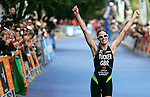 Helen Tucker from Great Britain arrives second during World Cup Triathlon in Madrid, Sunday May 25, 2008. (ACTION IMAGES/Alvaro Hernandez)