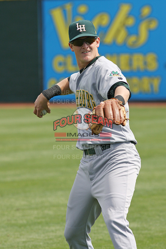 Alex Buchholtz #12 of the Lynchburg Hillcats throwing in the outfield before a game against the Kinston Indians at Granger Stadium  on April 28, 2010 in Kinston, NC. Photo by Robert Gurganus/Four Seam Images.