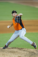 Frederick Keys relief pitcher Jimmy Yacabonis (43) in action against the Winston-Salem Dash at BB&T Ballpark on July 29, 2014 in Winston-Salem, North Carolina.  The Dash defeated the Keys 4-0.   (Brian Westerholt/Four Seam Images)