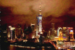 Storm clouds at night over Pudong Financial District - Shanghai