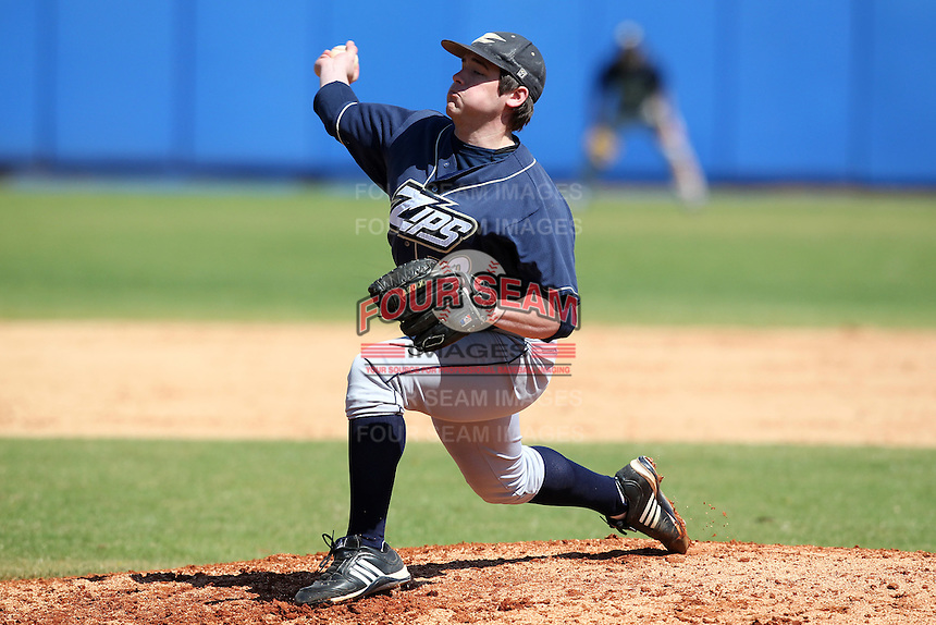Akron Zips pitcher Kevin Kumazec #18 during a game vs. the Xavier Musketeers at Chain of Lakes Park in Winter Haven, Florida;  March 11, 2011.  Xavier defeated Akron 7-0.  Photo By Mike Janes/Four Seam Images
