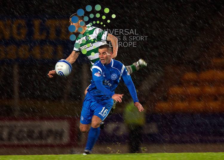 The Co-operative Insurance Cup Season 2010/2011 Quarter Final .St Johnstone Football Club  V  Celtic Football Club..27-10-10... Celtic's Du Ri Cha wins the header  , in this evening's Co-operative Insurance Cup Quater Final game between, Scottish Premier League sides St Johnstone and Celtic.. .At McDermid  Park  Stadium, Perth...Picture, Mark Davison/Universal News and Sport (Scotland) .Wednesday 27th October 2010.