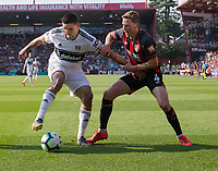Bournemouth's Dan Gosling (right) battles with Fulham's Aleksandar Mitrovic (right) <br /> <br /> Photographer David Horton/CameraSport<br /> <br /> The Premier League - Bournemouth v Fulham - Saturday 20th April 2019 - Vitality Stadium - Bournemouth<br /> <br /> World Copyright © 2019 CameraSport. All rights reserved. 43 Linden Ave. Countesthorpe. Leicester. England. LE8 5PG - Tel: +44 (0) 116 277 4147 - admin@camerasport.com - www.camerasport.com