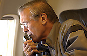 United States Secretary of Defense Donald H. Rumsfeld dictates into a recorder en route to Andrews Air Force Base, Maryland, on September 8, 2003.  Rumsfeld is heading home after a six-day trip to Iraq and Afghanistan. <br /> Mandatory Credit: Andy Dunaway / DoD via CNP