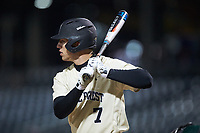 Nick DiPonzio (7) of the Wake Forest Demon Deacons at bat against the Charlotte 49ers at BB&T BallPark on March 13, 2018 in Charlotte, North Carolina.  The 49ers defeated the Demon Deacons 13-1.  (Brian Westerholt/Four Seam Images)