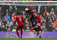7th March 2020; Anfield, Liverpool, Merseyside, England; English Premier League Football, Liverpool versus AFC Bournemouth; James Milner of Liverpool collides with Nathan Ake of Bournemouth as Ake attempts a header at goal