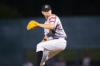 Kannapolis Intimidators relief pitcher Mike Morrison (24) in action against the Hickory Crawdads in game two of a double-header at Kannapolis Intimidators Stadium on May 19, 2017 in Kannapolis, North Carolina.  The Intimidators defeated the Crawdads 9-1.  (Brian Westerholt/Four Seam Images)