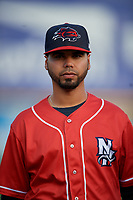 New Hampshire Fisher Cats Andy Fermin (2) during warmups before an Eastern League game against the Trenton Thunder on August 20, 2019 at Arm & Hammer Park in Trenton, New Jersey.  New Hampshire defeated Trenton 7-2.  (Mike Janes/Four Seam Images)