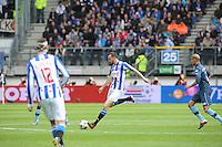 VOETBAL: HEERENVEEN: Abe Lenstra Stadion, SC Heerenveen - Feyenoord, 06-05-2012, Gerald Sibon (#35) tijdens zijn afscheidswedstrijd als prof, Karim El Ahmadi (#6), Eindstand 2-3, ©foto Martin de Jong