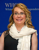 Former United States Representative Gabrielle Giffords (Democrat of Arizona) arrives for the 2016 White House Correspondents Association Annual Dinner at the Washington Hilton Hotel on Saturday, April 30, 2016.<br /> Credit: Ron Sachs / CNP<br /> (RESTRICTION: NO New York or New Jersey Newspapers or newspapers within a 75 mile radius of New York City)