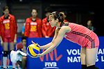 Xiangyu Gong of China prepares to serve during the FIVB Volleyball Nations League Hong Kong match between China and Argentina on May 29, 2018 in Hong Kong, Hong Kong. Photo by Marcio Rodrigo Machado / Power Sport Images