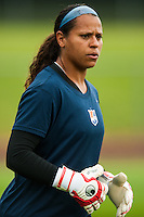 Sky Blue FC goalkeeper goalkeeper Brittany Cameron (1) during warmups. Sky Blue FC defeated the Seattle Reign FC 2-0 during a National Women's Soccer League (NWSL) match at Yurcak Field in Piscataway, NJ, on May 11, 2013.