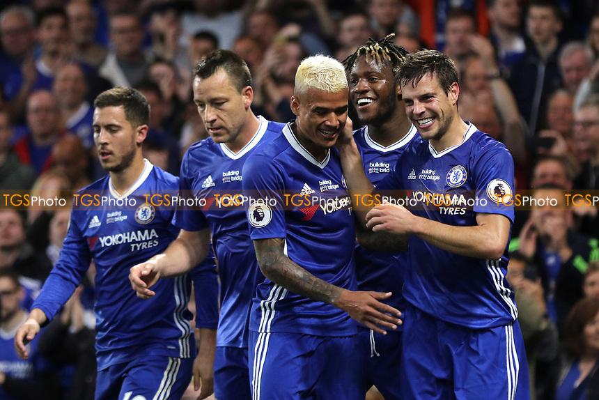 Cesar Azpilicueta (far right) celebrates scoring Chelsea's second goal during Chelsea vs Watford, Premier League Football at Stamford Bridge on 15th May 2017