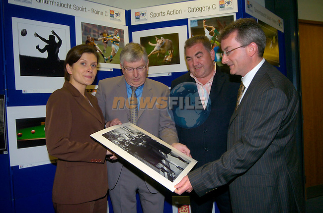 Anne Marie O'Reilly Brand Manager AIB, Billy Higgins President PPAI, John Kierans Editor Irish Mirror and Jim Nolan Manager AIB Drogheda at the Launch of the Press Photographers Assocation of Ireland (PPAI)  Exhibition of the best 100 Photographs taken by Press Photographer in 2005  In AIB Drogheda. Pic Kieran Corrigan/KCP........(NO FEE'S)