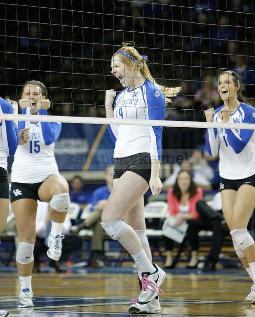 Freshman Sara Schwarzwalder (9) celebrates after a spike during the UK women's volleyball game v. East Tennessee University during the NCAA tournament in Memorial Coliseum in Lexington, Ky., on Friday, November 30, 2012. Photo by Genevieve Adams | Staff