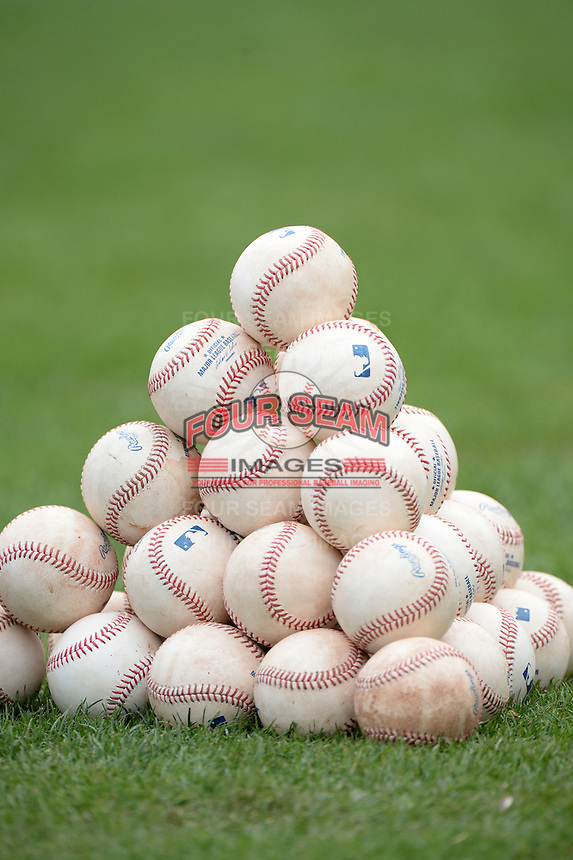 Minnesota Twins baseballs stacked in a pyramid during practice on February 25, 2014 at Hammond Stadium in Fort Myers, Florida.  (Mike Janes Photography)