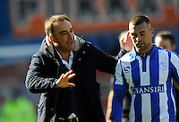 Sheffield Wednesday v Cardiff .Sky Bet Championship ....... a happy Wednesday manger Carlos Carvalhal with jack hunt