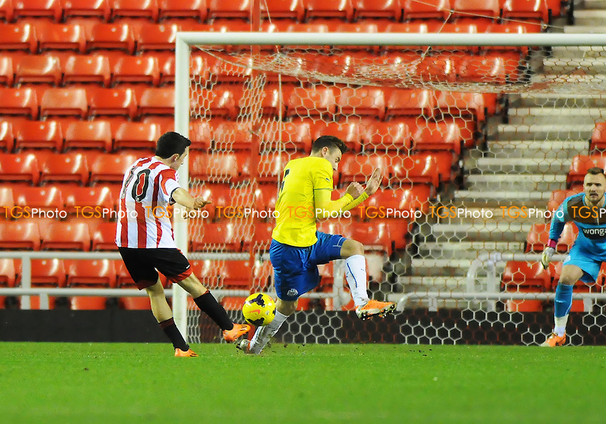 George Honeyman of Sunderland shoots - Sunderland Under-21 vs Newcastle United Under-21 - Barclays Under-21 Premier League Football at the Stadium of Light, Sunderland - 03/02/14 - MANDATORY CREDIT: Steven White/TGSPHOTO - Self billing applies where appropriate - 0845 094 6026 - contact@tgsphoto.co.uk - NO UNPAID USE