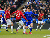 3rd February 2019, King Power Stadium, Leicester, England; EPL Premier League Football, Leicester City versus Manchester United; Luke Shaw of Manchester United is challenged by Harvey Barnes of Leicester City