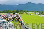 The crowd watch Icemancometh beat off the challenge of Sinsational in the Derrinstown Stud Apprentice claiming race at the Killarney races on Monday