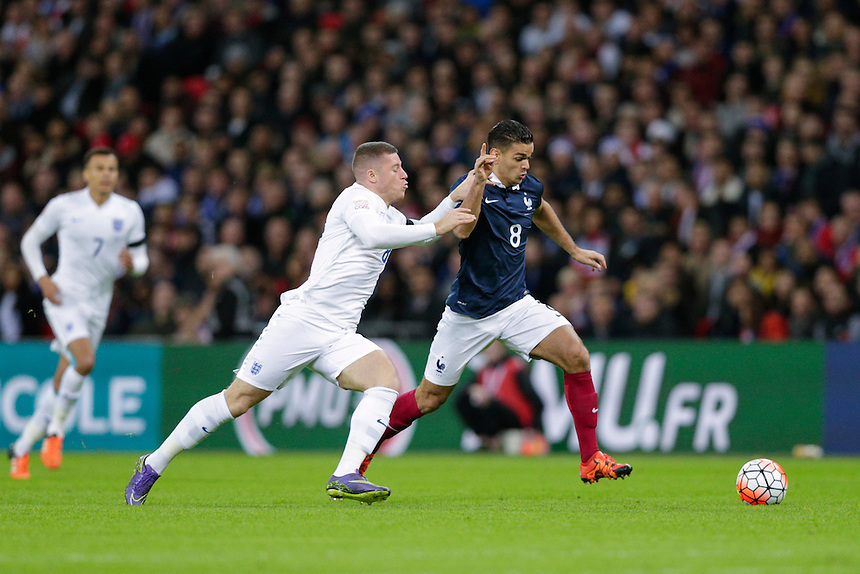 France&rsquo;s Hatem Ben Arfa battles for possession with England&rsquo;s Ross Barkley<br /> <br /> Photographer Craig Mercer/CameraSport<br /> <br /> Football International - England v France - Tuesday 17th November 2015 - Wembley Stadium - London<br /> <br /> &copy; CameraSport - 43 Linden Ave. Countesthorpe. Leicester. England. LE8 5PG - Tel: +44 (0) 116 277 4147 - admin@camerasport.com - www.camerasport.com