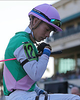 HALLANDALE BEACH, FL - JANUARY 28: Jockey Jose L Ortiz heads to the winners circle after his win of the La Prevoyante G3 Stakes on Pegasus World Cup Invitational Day at Gulfstream Park on January 28, 2017 in Hallandale Beach, Florida. (Photo by Liz Lamont/Eclipse Sportswire/Getty Images)